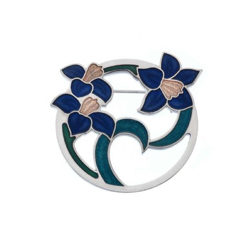 Flowers and Leaves Brooch Silver Plated Blue Brand New Gift Packaging